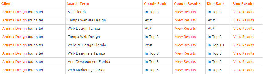 Arnima's SEO Rank in 2012