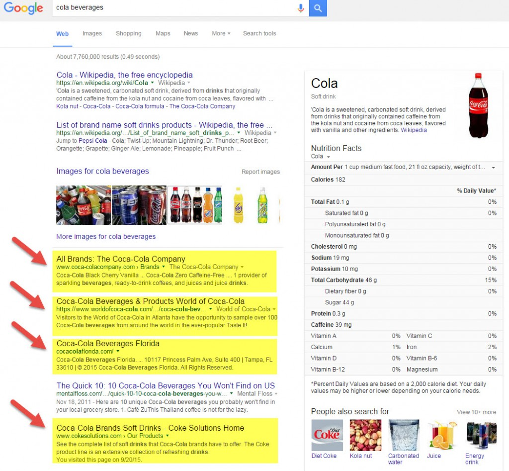 Google Search Cola Beverages