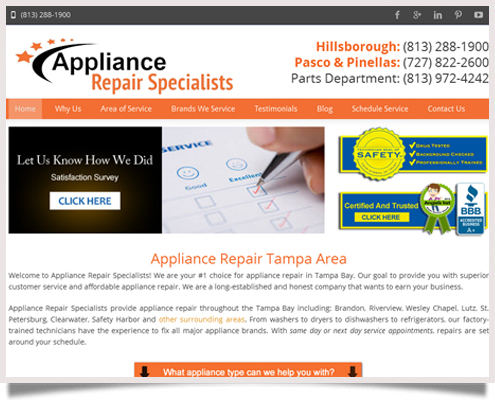 Appliance Repair Specialists Website