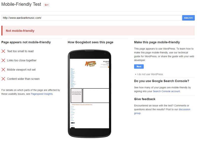AArdvark Music Mobile Friendly Test Results