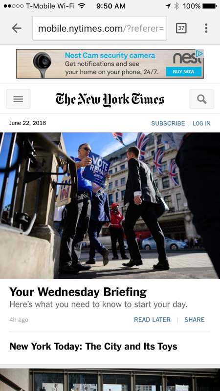 NY Times Mobile Website